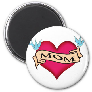 Mom - Custom Heart Tattoo T-shirts & Gifts Fridge Magnets