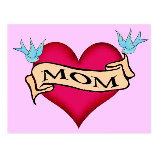 Mom - Custom Heart Tattoo T-shirts & Gifts Postcard