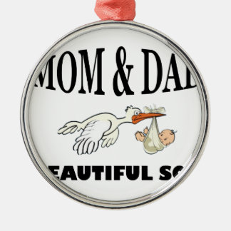 Mom Dad and beautiful son Metal Ornament