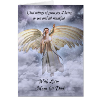 Mom & Dad Angel Christmas Card Religious