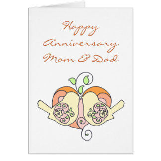 Mom & Dad Anniversary Birds with Floral Heart Greeting Cards