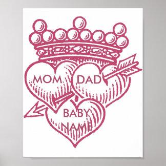 Mom Dad Baby Crown Hearts Nursery Poster