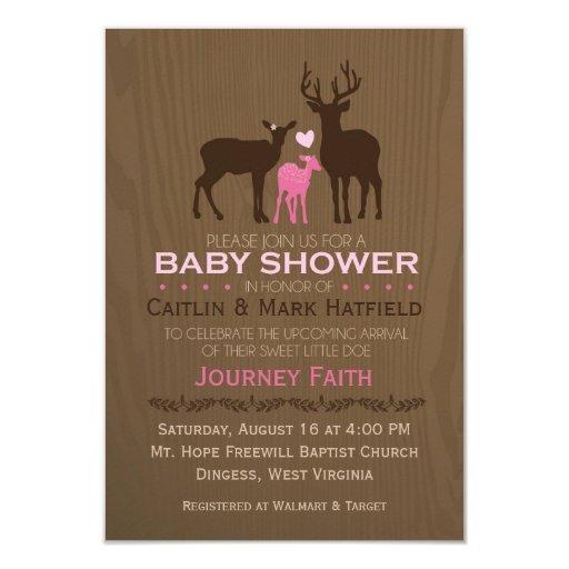 Mom, Dad U0026 Baby Girl Deer   Baby Shower Invitation