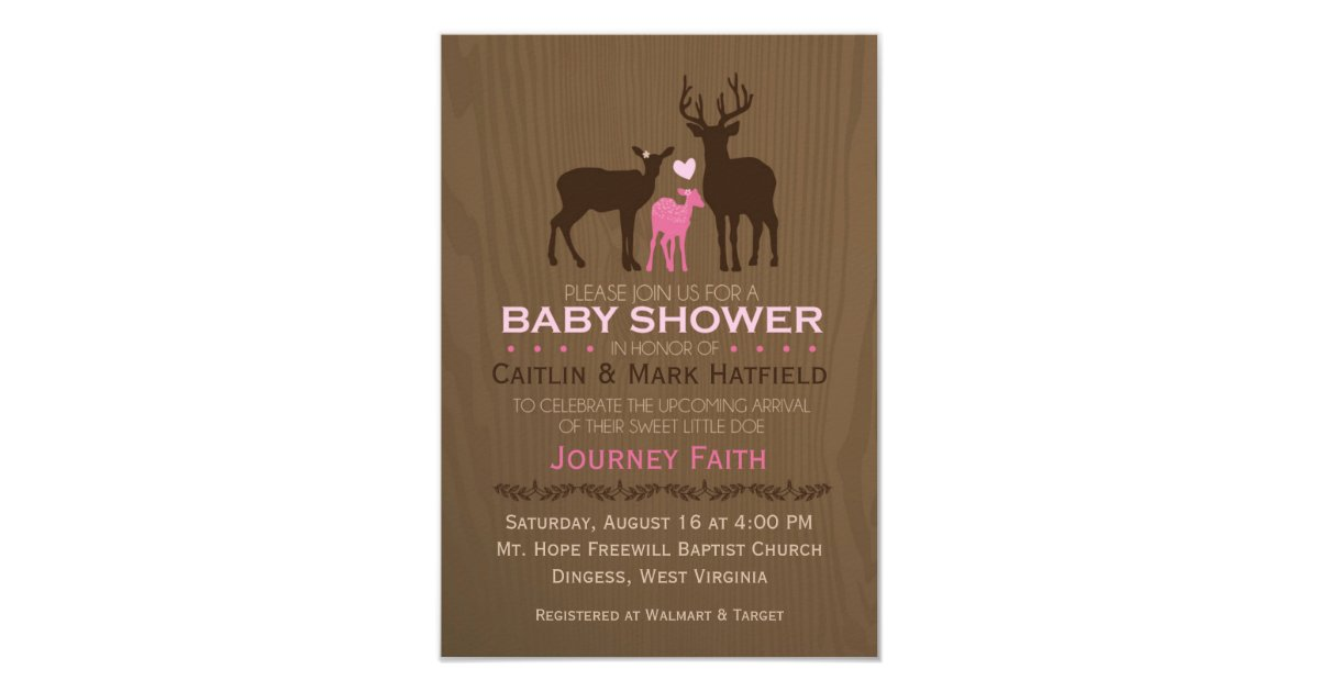 mom dad baby girl deer pink baby shower invite zazzle