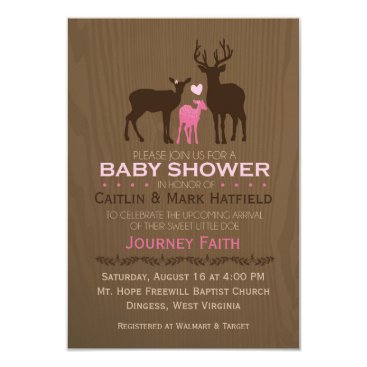 AllisonLeAnnDesign Mom, Dad & Baby Girl Deer Pink Baby Shower Invite
