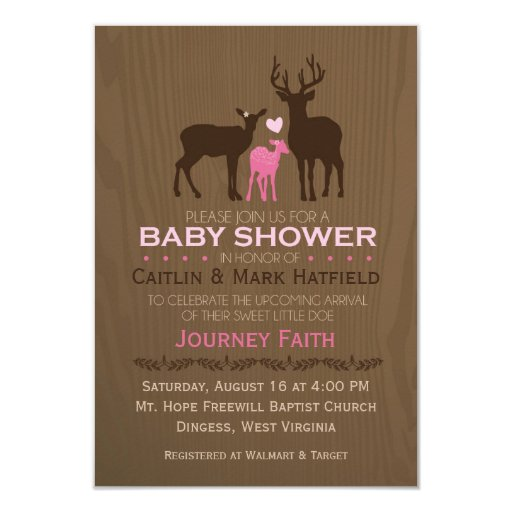 Mom, Dad & Baby Girl Deer Pink Baby Shower Invite