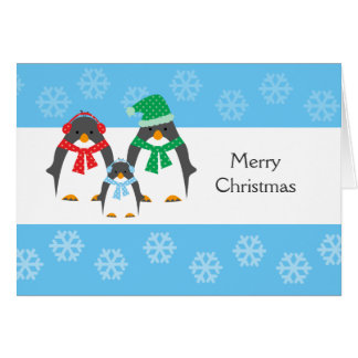 Mom, Dad & Baby Penguin CHRISTMAS CARD