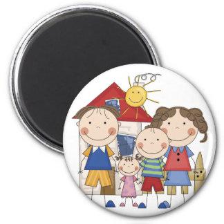 Mom, Dad, Big Boy, Small Girl Family 2 Inch Round Magnet