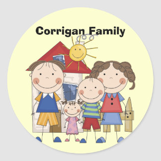 Mom, Dad, Big Boy, Small Girl Family Classic Round Sticker