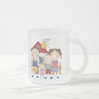 Mom, Dad, Big Boy, Small Girl Family Frosted Glass Coffee Mug