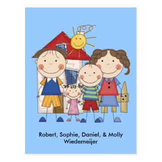 Mom, Dad, Big Boy, Small Girl Family Postcard