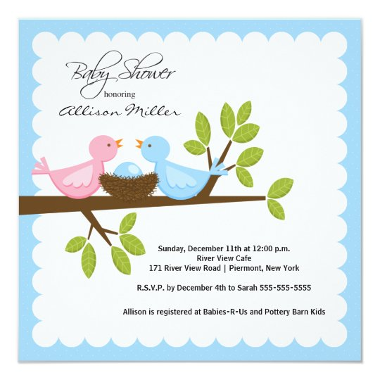 Mom & Dad Birds with Baby Bird Baby Shower Card