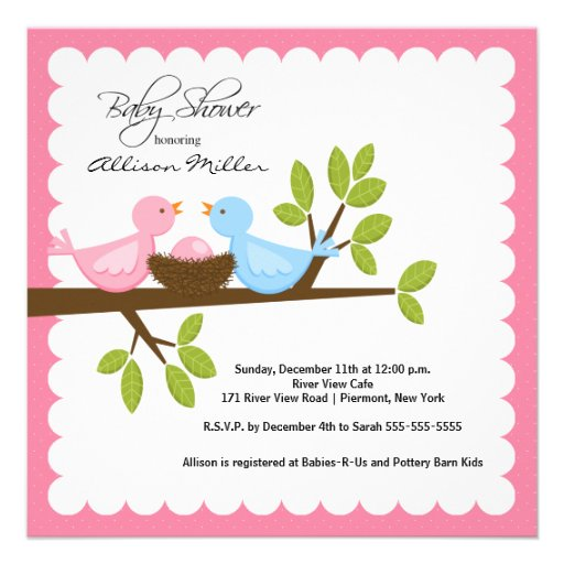 mom dad birds with baby bird baby shower square invitation