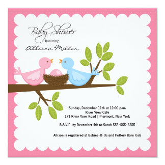 Mom & Dad Birds with Baby Bird Baby Shower Personalized Invites