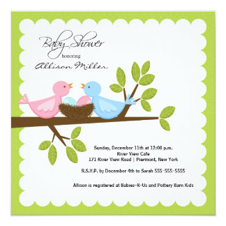 """Mom Dad Birds with TWINS Baby Shower 5.25"""" Square Invitation Card"""