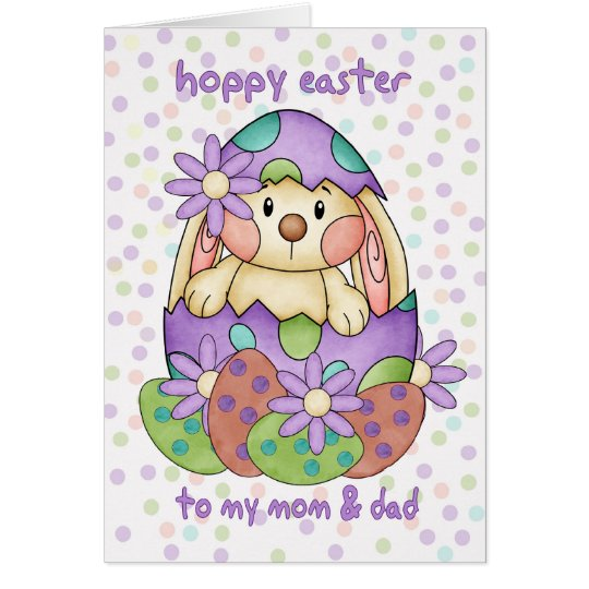 Mom & Dad Easter Card With Easter Bunny - Greeting