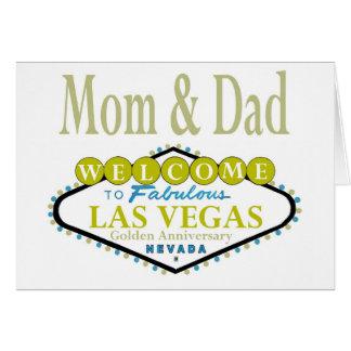 Mom & Dad Golden Las Vegas Anniversary Card