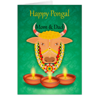 Mom & Dad Happy Pongal, with cow and candles Card