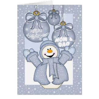 mom & dad, happy snowman christmas card - merry ch