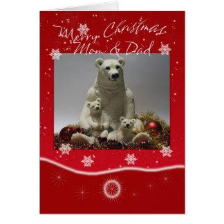 Mom & Dad Merry Christmas Polar Bear Family Card