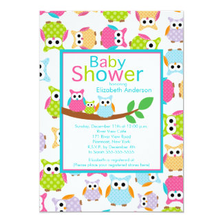 Mom & Dad Owls with Baby Owl Baby Shower Card