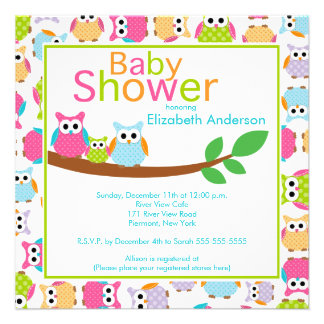 Mom Dad Owls with Baby Owl Baby Shower Personalized Announcements
