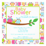 Mom & Dad Owls with Baby Owl Baby Shower Personalized Announcements