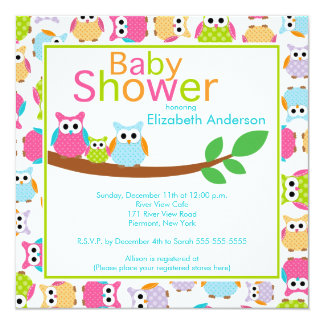 Mom & Dad Owls with Baby Owl Baby Shower 5.25x5.25 Square Paper Invitation Card