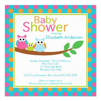 Mom & Dad Owls with Baby Owl Boy Baby Shower Card