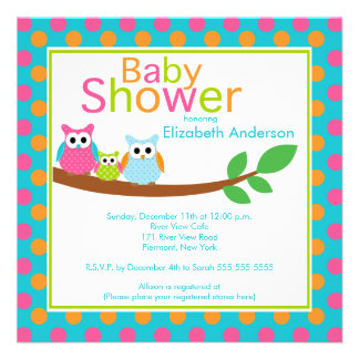 Mom Dad Owls with Baby Owl Boy Baby Shower Personalized Invitations
