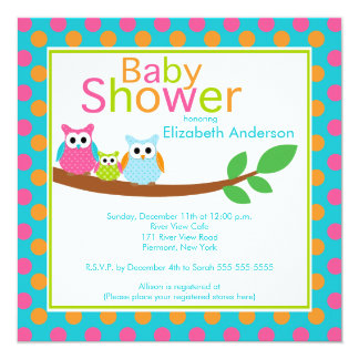 Mom & Dad Owls with Baby Owl Boy Baby Shower 5.25x5.25 Square Paper Invitation Card