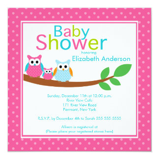 Mom & Dad Owls with Baby Owl Girl Baby Shower Card
