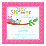 Mom & Dad Owls with Baby Owl Girl Baby Shower Invites