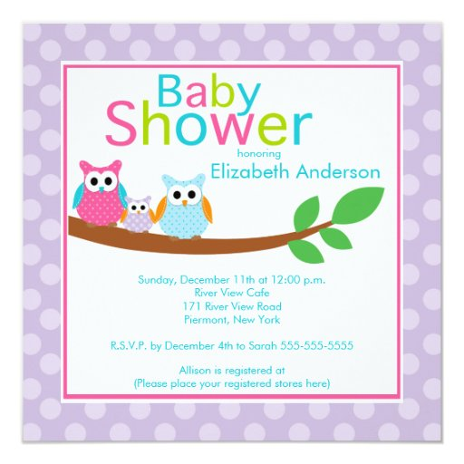 mom dad owls with baby owl girl baby shower invitation zazzle