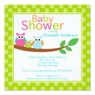 Mom & Dad Owls with Baby Owl Neutral Baby Shower Card