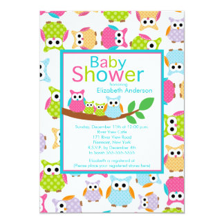 """Mom & Dad Owls with Baby Owls TWINS Baby Shower 5"""" X 7"""" Invitation Card"""