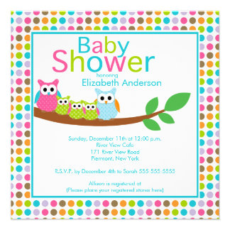Mom & Dad Owls with Triplets Multiple Baby Shower Invitations