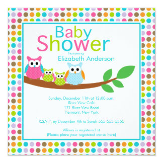 """Mom & Dad Owls with Twins Multiple Baby Shower 5.25"""" Square Invitation Card"""