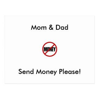 Mom & Dad, Send Money Please! Postcard