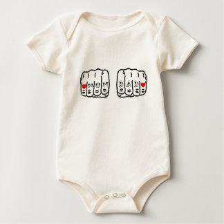 Mom Dad Tattoo Knuckles Baby Bodysuit