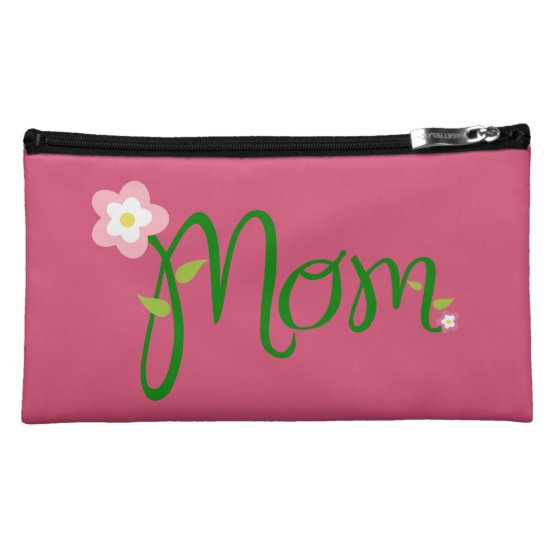 Mom Dark Pink Suede Cosmetic Bag