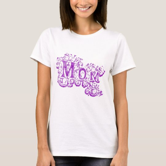 """Mom"" decorative purple white t-shirt"