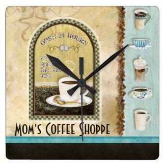 Mom Deja Brew Coffee Art Stacked Cups Mug Caffeine Square Wall Clock