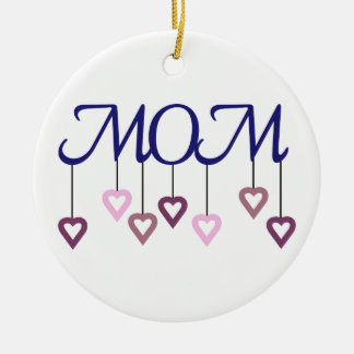 Mom Double-Sided Ceramic Round Christmas Ornament