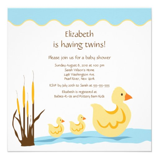 mom duck baby duck twins baby shower square invitation card