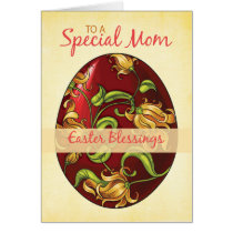 Mom, Easter Blessings, Egg with Lilies Card