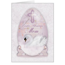 Mom, Easter Card With Decorated Egg, Swan