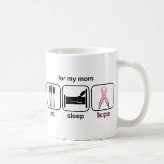 Mom Eat Sleep Hope - Breast Cancer Coffee Mug