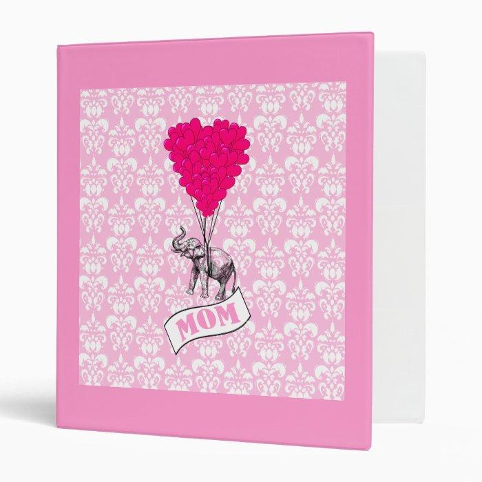 Mom, elephant and heart balloons binder