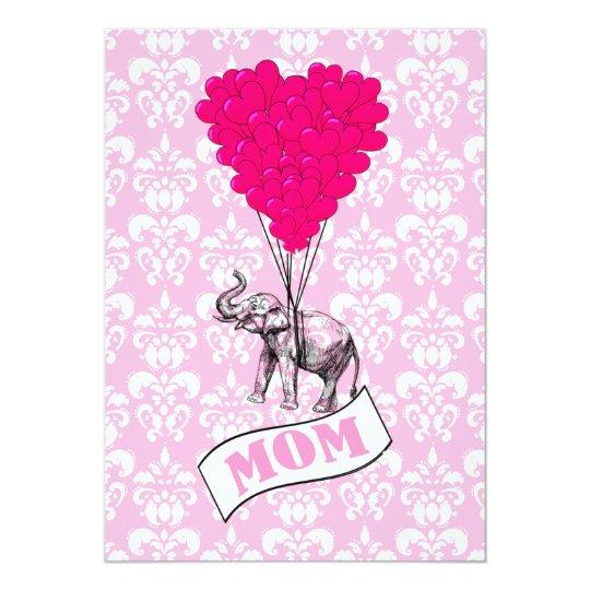 Mom, elephant and heart balloons card